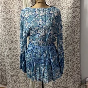New free people blue white silver sun mini dress M